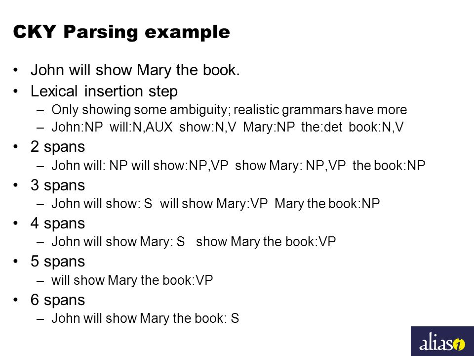 CKY Parsing example John will show Mary the book.