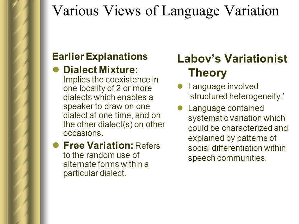 Social Dialectology Ch.3 Measuring the Cause of Variation Defining a Linguistic Variable Social Factors Related to Variation Identifying Variation in