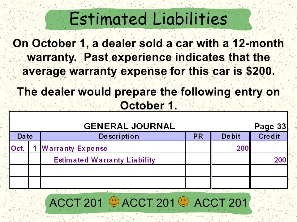 On October 1, a dealer sold a car with a 12-month warranty.