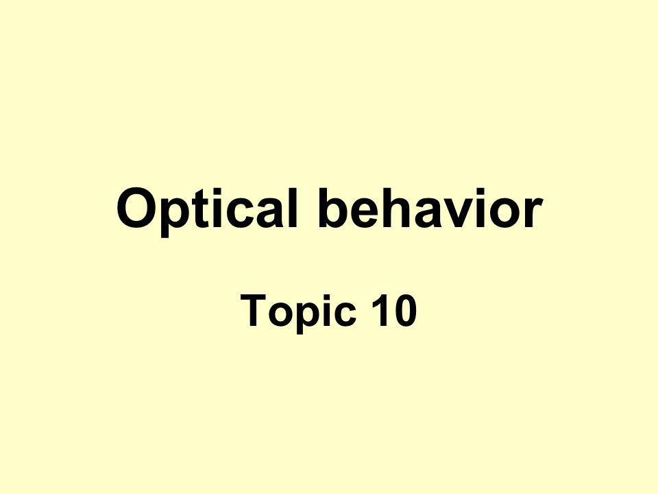 Optical behavior Topic 10