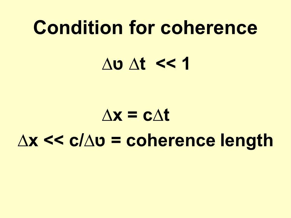 Condition for coherence ∆ ט∆t << 1 ∆x = c∆t ∆x << c/∆ט = coherence length