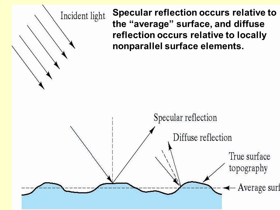 """Specular reflection occurs relative to the """"average"""" surface, and diffuse reflection occurs relative to locally nonparallel surface elements."""