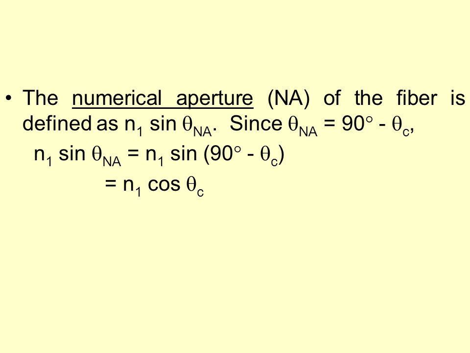 The numerical aperture (NA) of the fiber is defined as n 1 sin  NA. Since  NA = 90  -  c, n 1 sin  NA = n 1 sin (90  -  c ) = n 1 cos  c