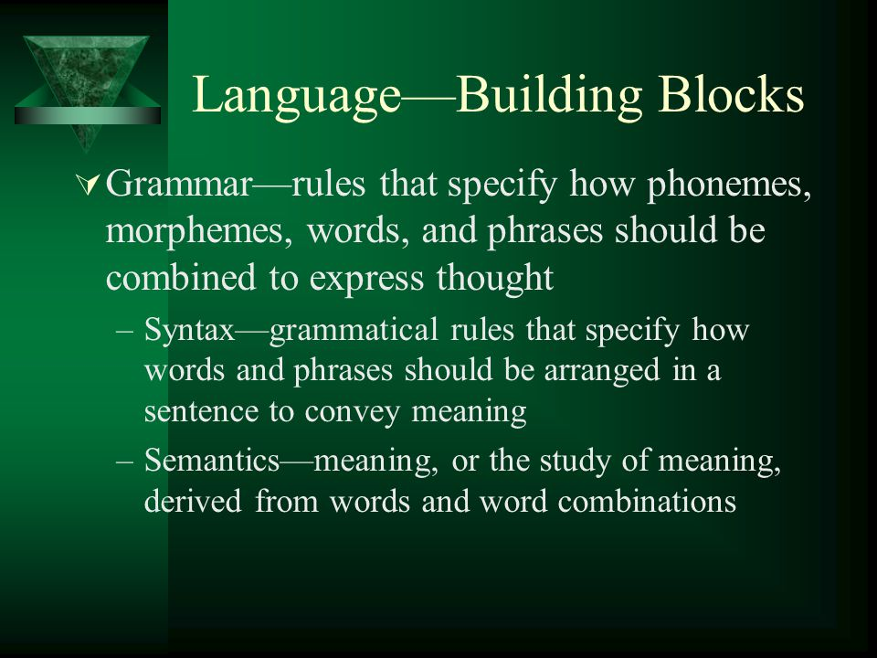 Language—Building Blocks  Grammar—rules that specify how phonemes, morphemes, words, and phrases should be combined to express thought –Syntax—gramma