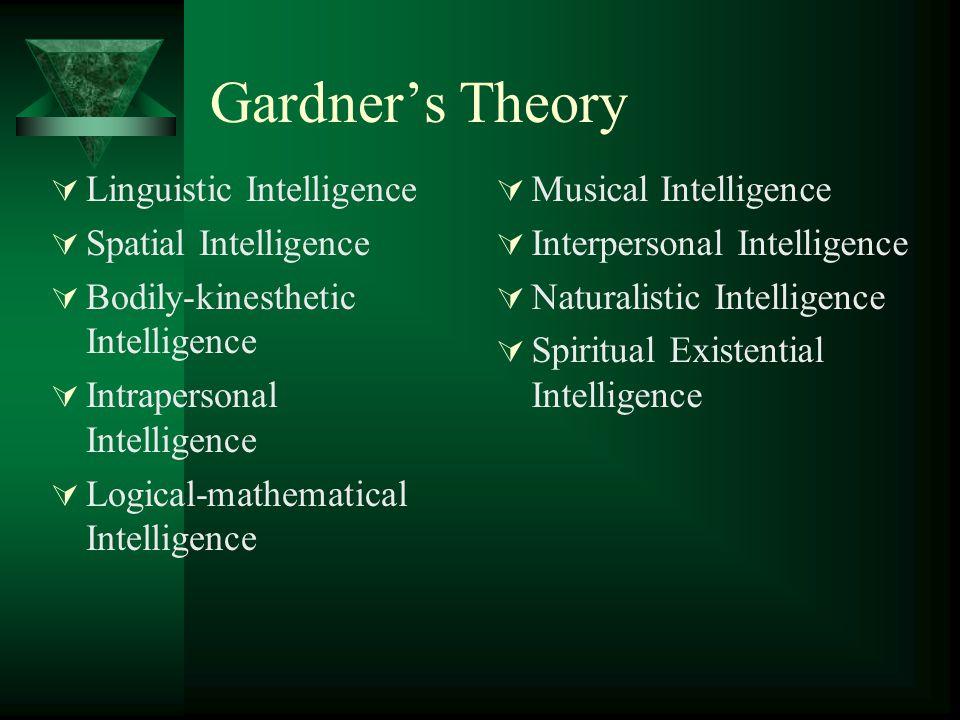 Gardner's Theory  Linguistic Intelligence  Spatial Intelligence  Bodily-kinesthetic Intelligence  Intrapersonal Intelligence  Logical-mathematica