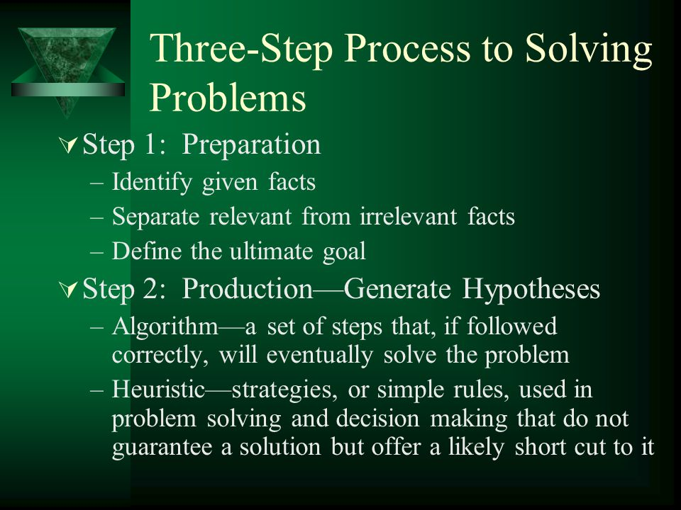 Three-Step Process to Solving Problems  Step 3: Evaluation –Does one or more of the hypotheses generated meet the criteria set forth in Step 1.