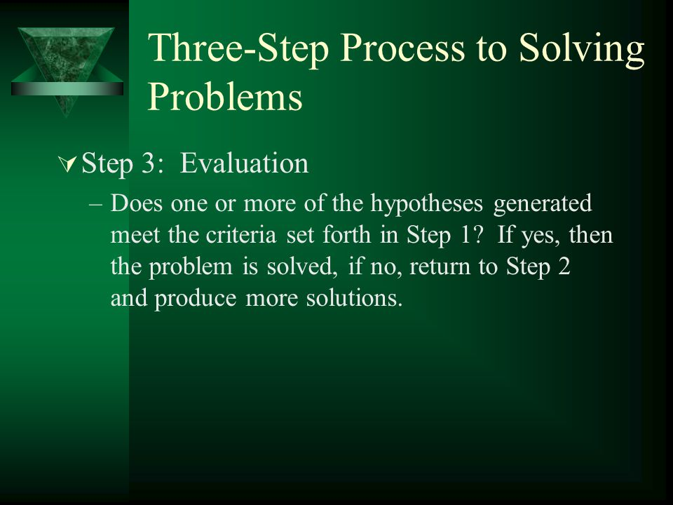 Three-Step Process to Solving Problems  Step 3: Evaluation –Does one or more of the hypotheses generated meet the criteria set forth in Step 1? If ye