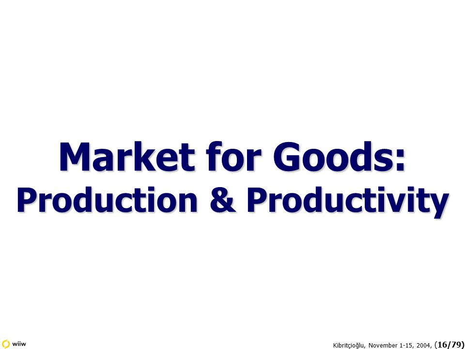 Kibritçioğlu, November 1-15, 2004, (16/79) Market for Goods: Production & Productivity
