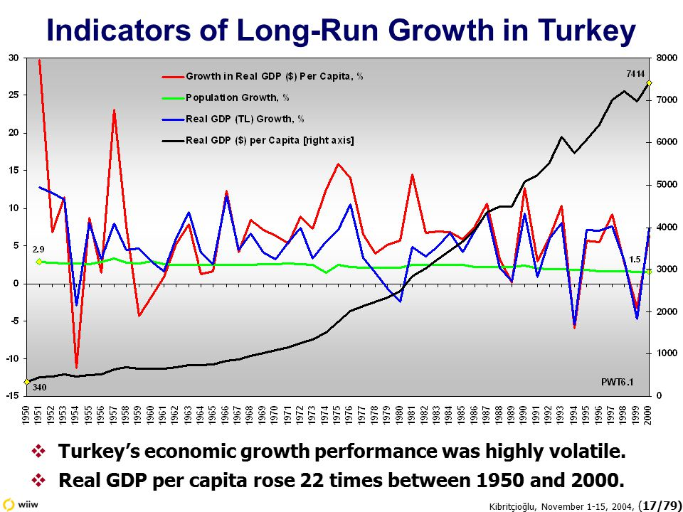 Kibritçioğlu, November 1-15, 2004, (17/79) Indicators of Long-Run Growth in Turkey  Turkey's economic growth performance was highly volatile.