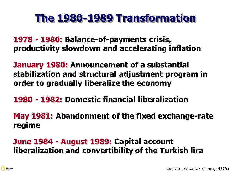 Kibritçioğlu, November 1-15, 2004, (15/79)  Annual inflation rates fell below 15 percent as end of September 2004.