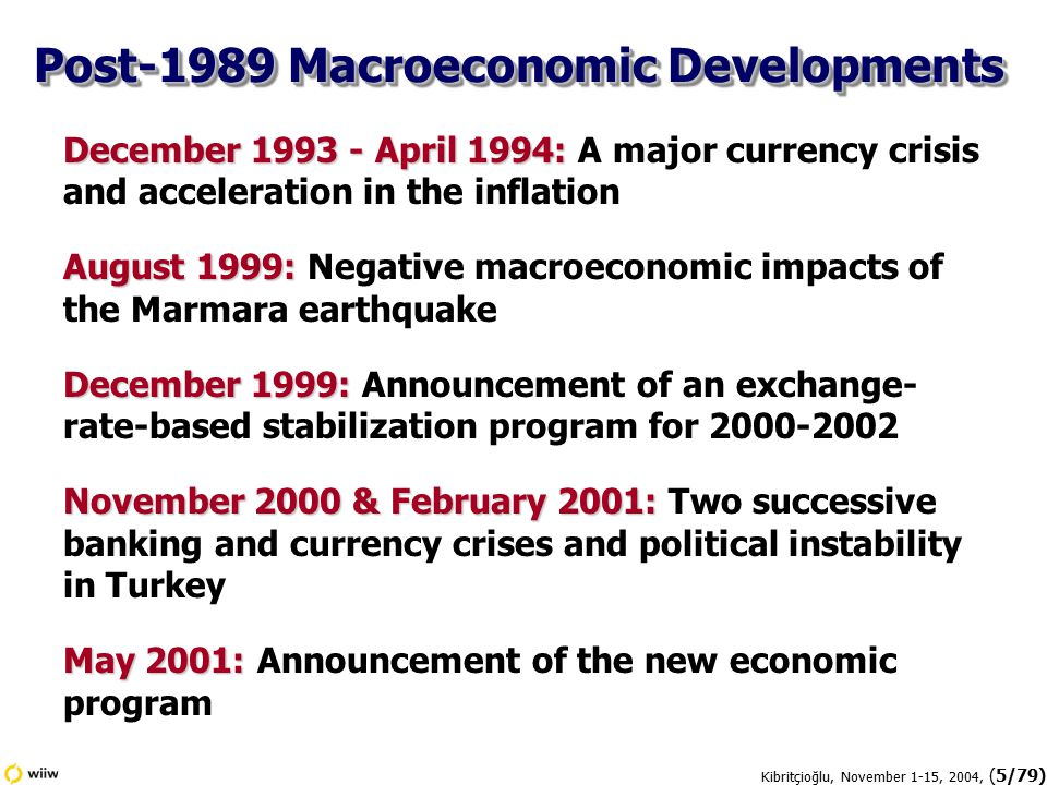 Kibritçioğlu, November 1-15, 2004, (6/79) Source: State Institute of Statistics (SIS), Central Bank of Republic of Turkey (CBRT), State Planning Organization (SPO), the IMF and J.P.Morgan; Kibritçioğlu's calculations.