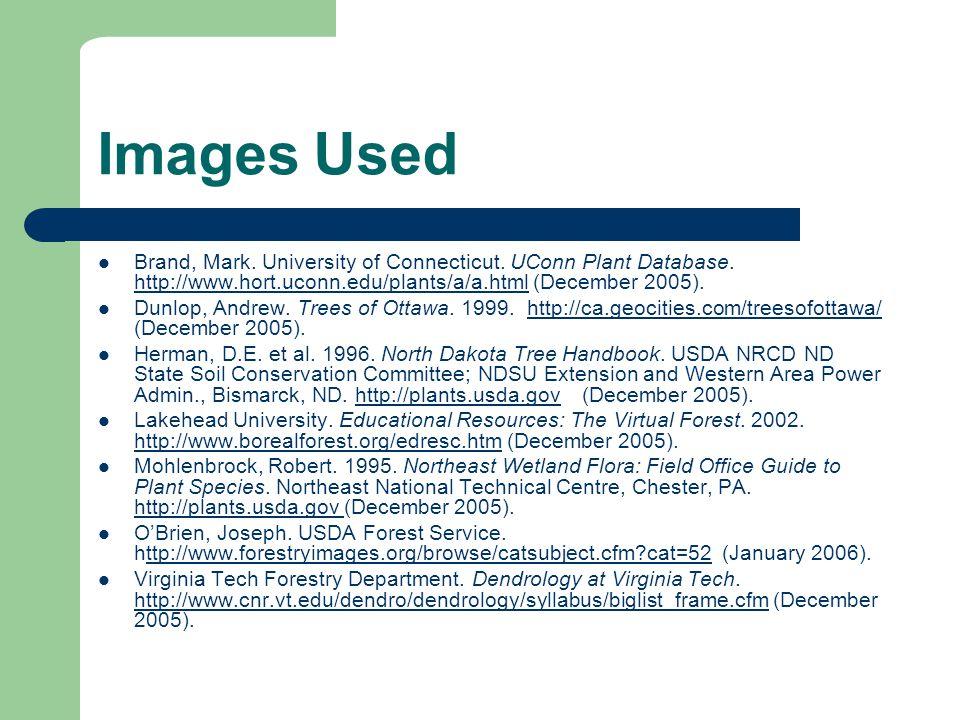 Images Used Brand, Mark. University of Connecticut. UConn Plant Database. http://www.hort.uconn.edu/plants/a/a.html (December 2005). http://www.hort.u