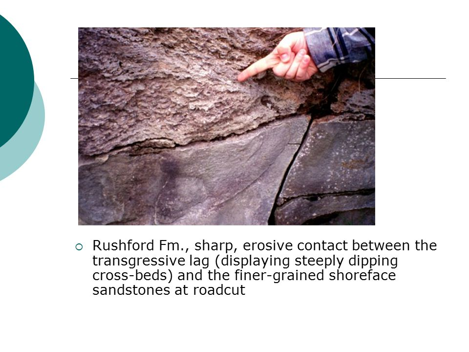  Rushford Fm., sharp, erosive contact between the transgressive lag (displaying steeply dipping cross-beds) and the finer-grained shoreface sandstones at roadcut