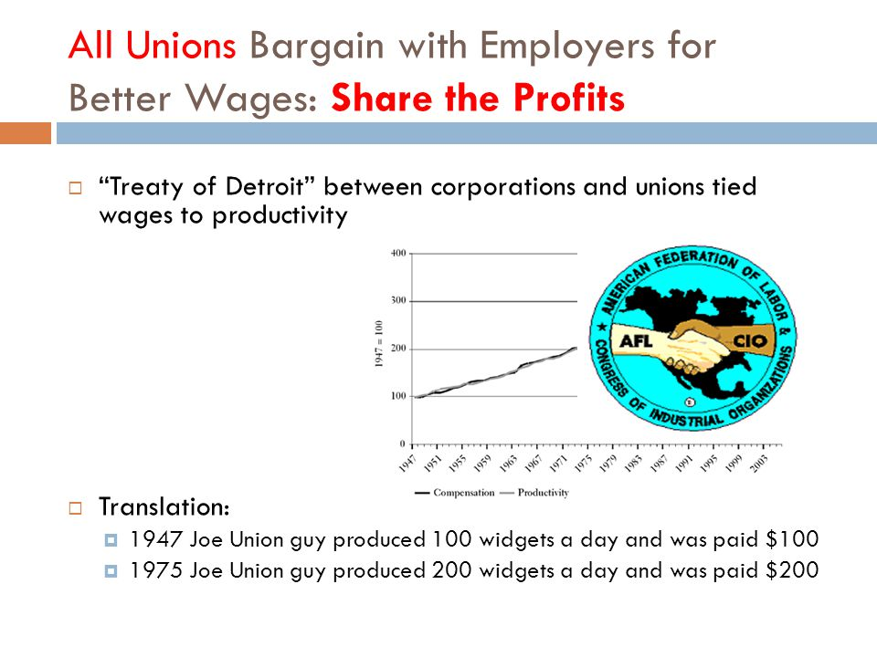 All Unions Bargain with Employers for Better Wages: Share the Profits  Treaty of Detroit between corporations and unions tied wages to productivity  Translation:  1947 Joe Union guy produced 100 widgets a day and was paid $100  1975 Joe Union guy produced 200 widgets a day and was paid $200