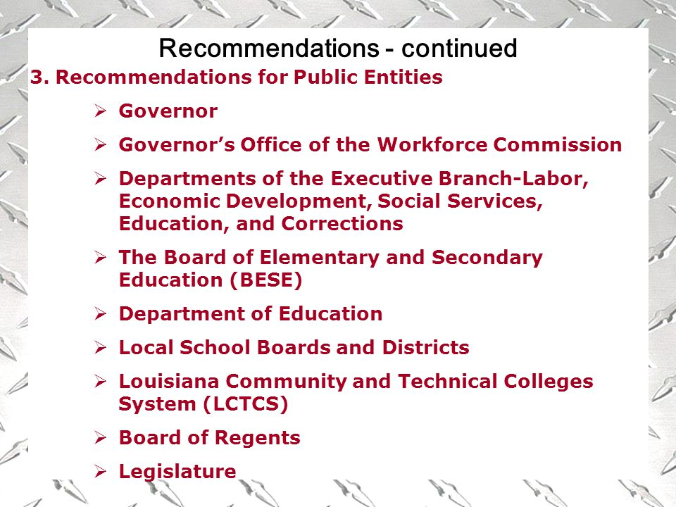 Recommendations - continued 3.Recommendations for Public Entities  Governor  Governor's Office of the Workforce Commission  Departments of the Executive Branch-Labor, Economic Development, Social Services, Education, and Corrections  The Board of Elementary and Secondary Education (BESE)  Department of Education  Local School Boards and Districts  Louisiana Community and Technical Colleges System (LCTCS)  Board of Regents  Legislature