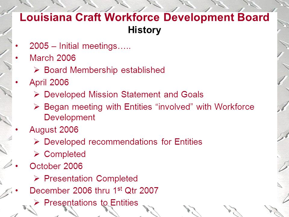 Louisiana Craft Workforce Development Board History 2005 – Initial meetings…..