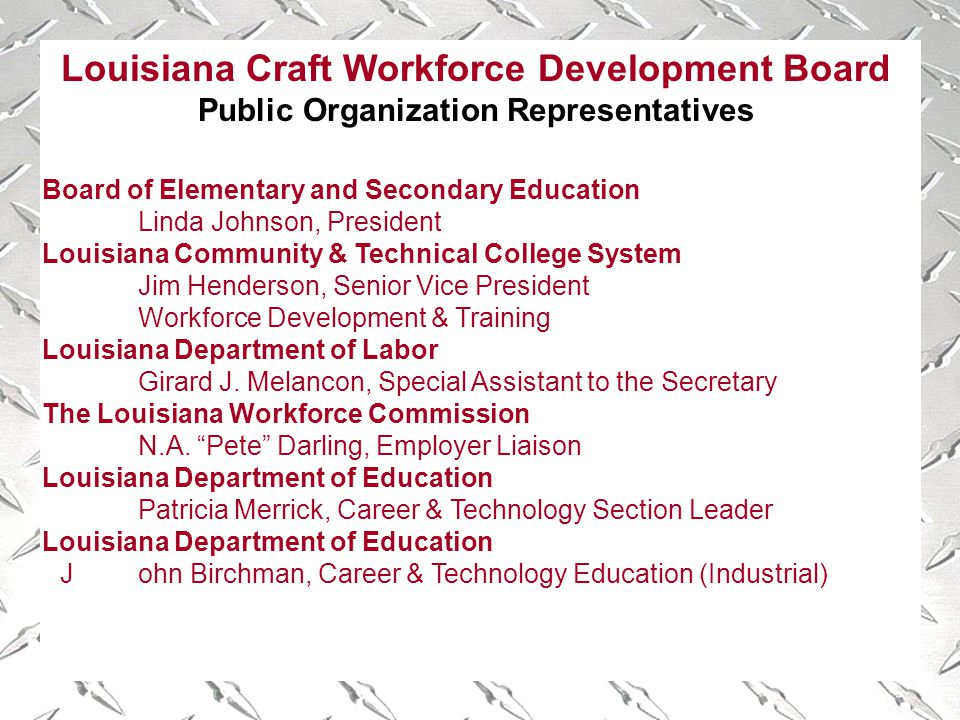 Louisiana Craft Workforce Development Board Public Organization Representatives Board of Elementary and Secondary Education Linda Johnson, President Louisiana Community & Technical College System Jim Henderson, Senior Vice President Workforce Development & Training Louisiana Department of Labor Girard J.