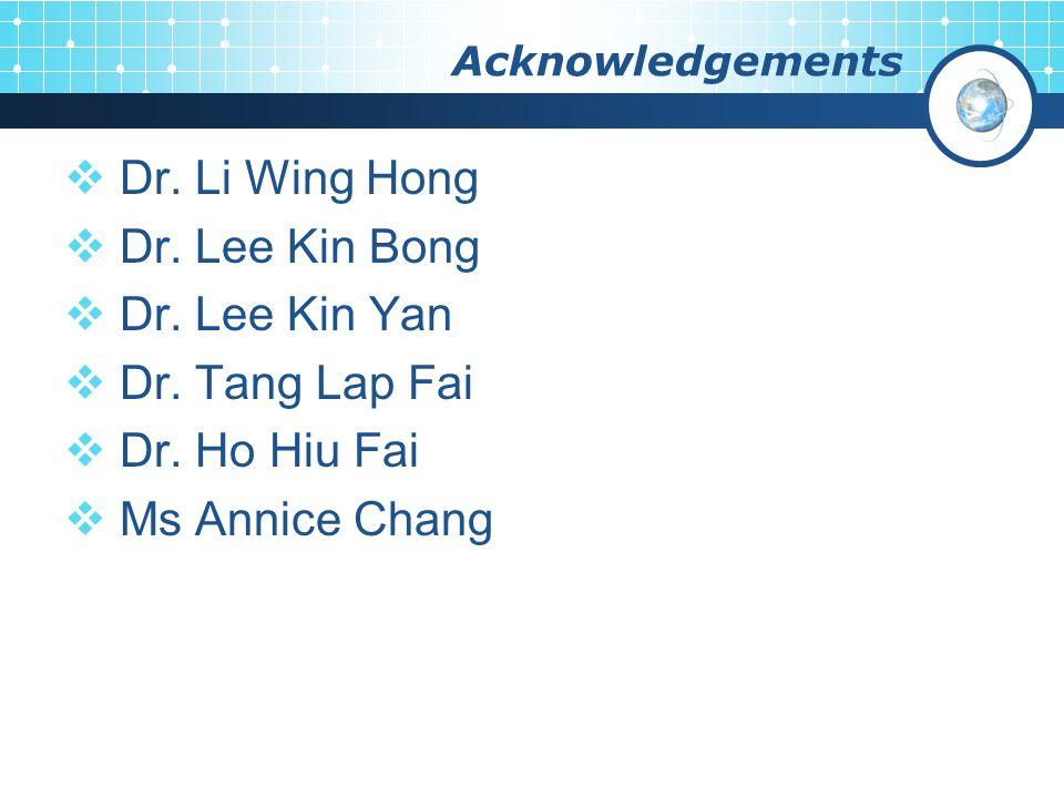 Acknowledgements  Dr. Li Wing Hong  Dr. Lee Kin Bong  Dr.