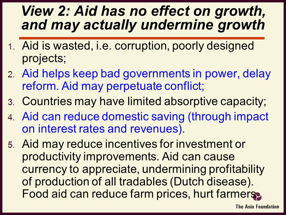  Aid is wasted, i.e.