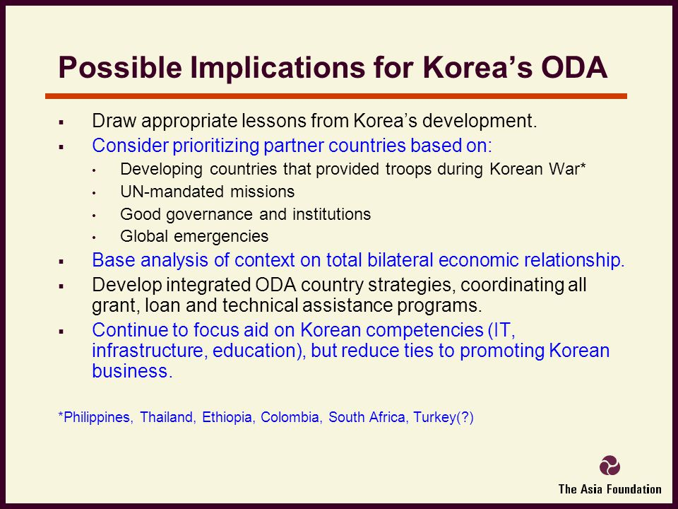 Possible Implications for Korea's ODA  Draw appropriate lessons from Korea's development.