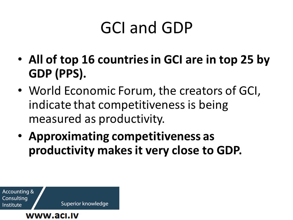 GCI and GDP All of top 16 countries in GCI are in top 25 by GDP (PPS).
