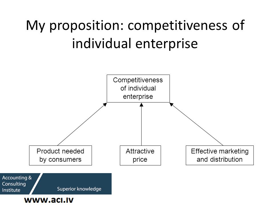 My proposition: competitiveness of individual enterprise Competitiveness of individual enterprise Product needed by consumers Attractive price Effective marketing and distribution
