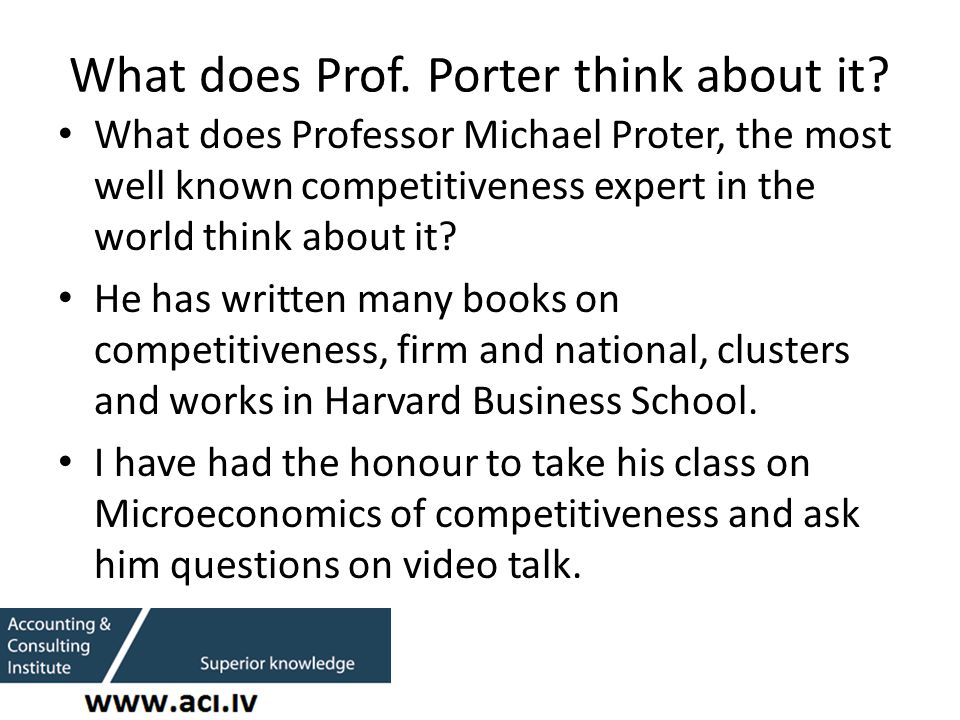 What does Prof. Porter think about it.