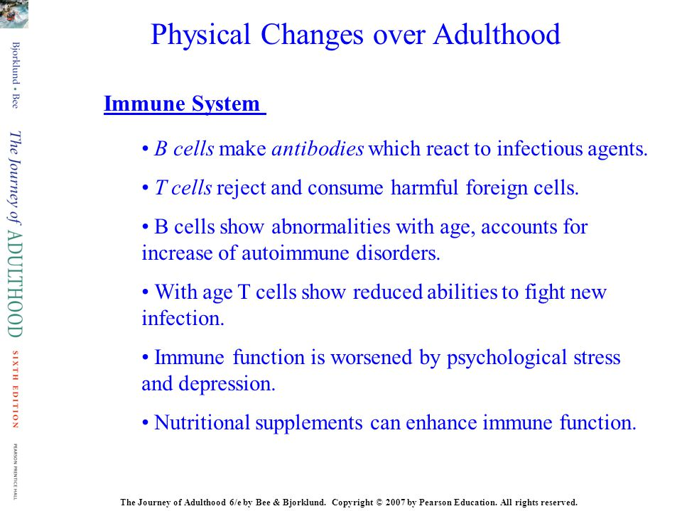 B cells make antibodies which react to infectious agents. T cells reject and consume harmful foreign cells. B cells show abnormalities with age, accou