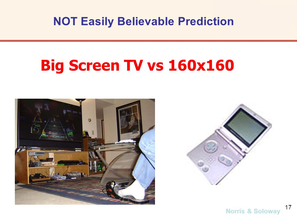 Norris & Soloway 17 Big Screen TV vs 160x160 NOT Easily Believable Prediction