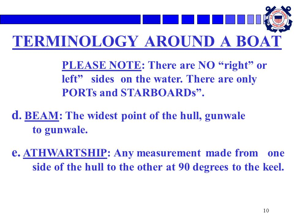 10 TERMINOLOGY AROUND A BOAT PLEASE NOTE: There are NO right or left sides on the water.