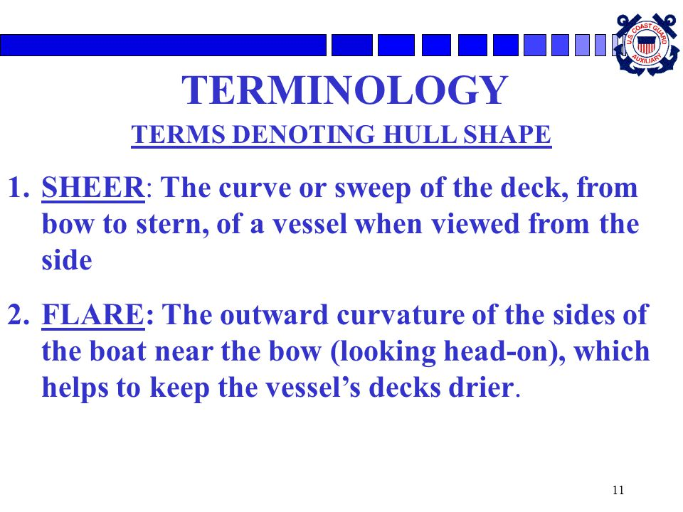 11 TERMINOLOGY TERMS DENOTING HULL SHAPE 1.SHEER: The curve or sweep of the deck, from bow to stern, of a vessel when viewed from the side 2.FLARE: The outward curvature of the sides of the boat near the bow (looking head-on), which helps to keep the vessel's decks drier.