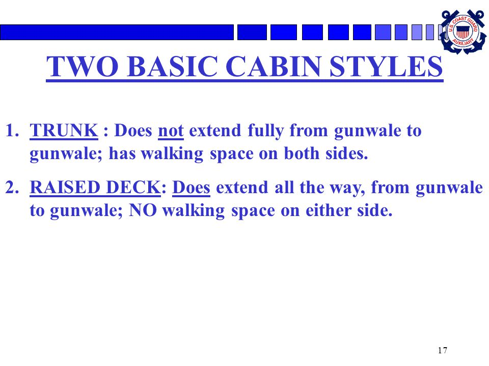 17 TWO BASIC CABIN STYLES 1.TRUNK : Does not extend fully from gunwale to gunwale; has walking space on both sides. 2.RAISED DECK: Does extend all the
