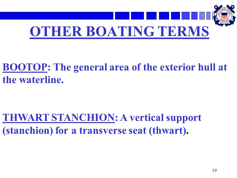 19 OTHER BOATING TERMS BOOTOP: The general area of the exterior hull at the waterline. THWART STANCHION: A vertical support (stanchion) for a transver