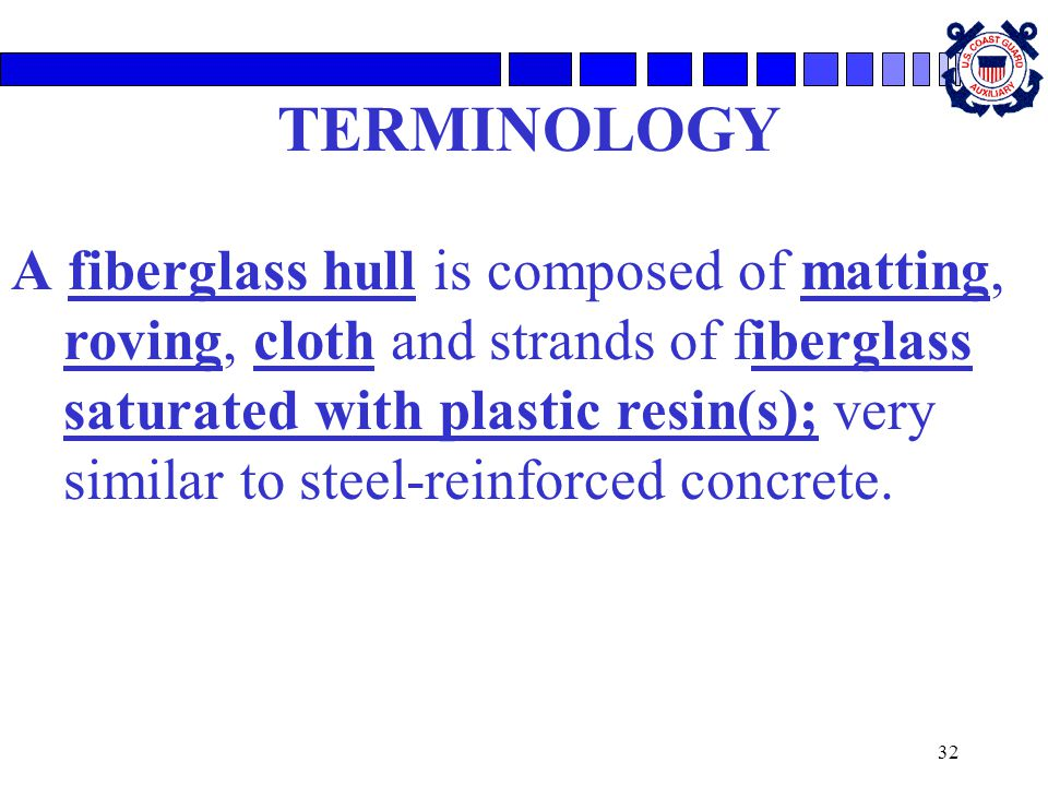 32 TERMINOLOGY A fiberglass hull is composed of matting, roving, cloth and strands of fiberglass saturated with plastic resin(s); very similar to stee