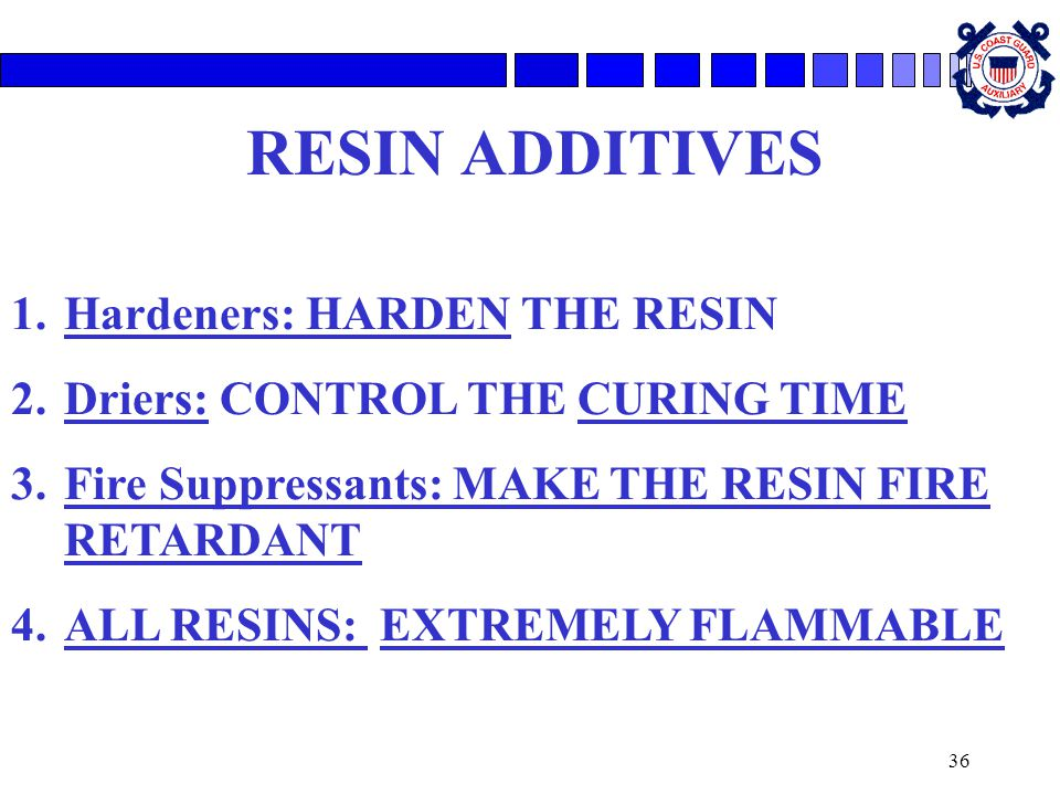 36 RESIN ADDITIVES 1.Hardeners: HARDEN THE RESIN 2.Driers: CONTROL THE CURING TIME 3.Fire Suppressants: MAKE THE RESIN FIRE RETARDANT 4.ALL RESINS: EXTREMELY FLAMMABLE