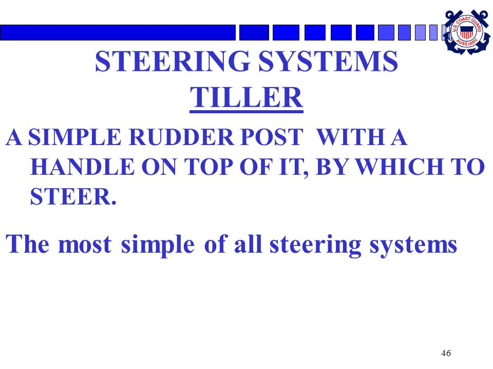 46 STEERING SYSTEMS TILLER A SIMPLE RUDDER POST WITH A HANDLE ON TOP OF IT, BY WHICH TO STEER.