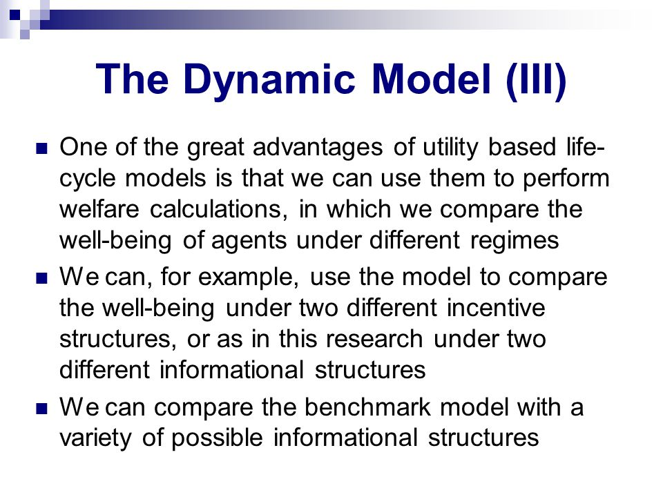 The Dynamic Model (III) One of the great advantages of utility based life- cycle models is that we can use them to perform welfare calculations, in which we compare the well-being of agents under different regimes We can, for example, use the model to compare the well-being under two different incentive structures, or as in this research under two different informational structures We can compare the benchmark model with a variety of possible informational structures