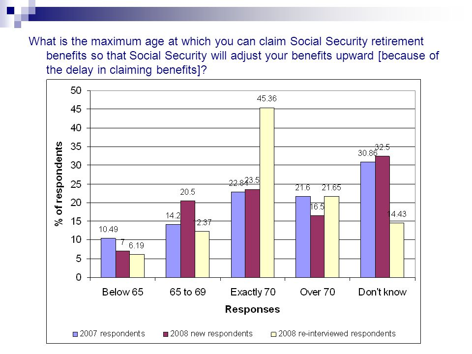 What is the maximum age at which you can claim Social Security retirement benefits so that Social Security will adjust your benefits upward [because of the delay in claiming benefits]
