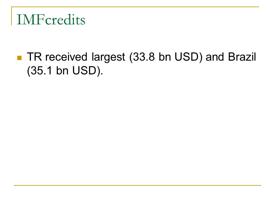 IMFcredits TR received largest (33.8 bn USD) and Brazil (35.1 bn USD).