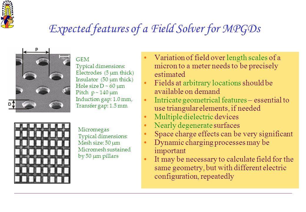 Expected features of a Field Solver for MPGDs Variation of field over length scales of a micron to a meter needs to be precisely estimated Fields at a