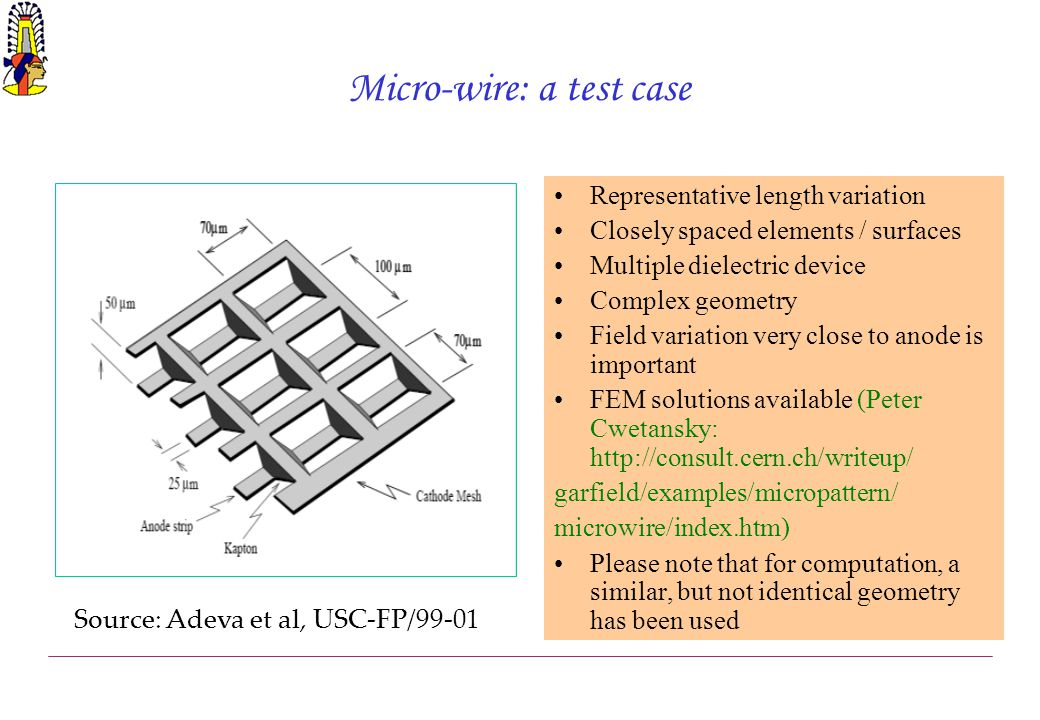 Micro-wire: a test case Representative length variation Closely spaced elements / surfaces Multiple dielectric device Complex geometry Field variation