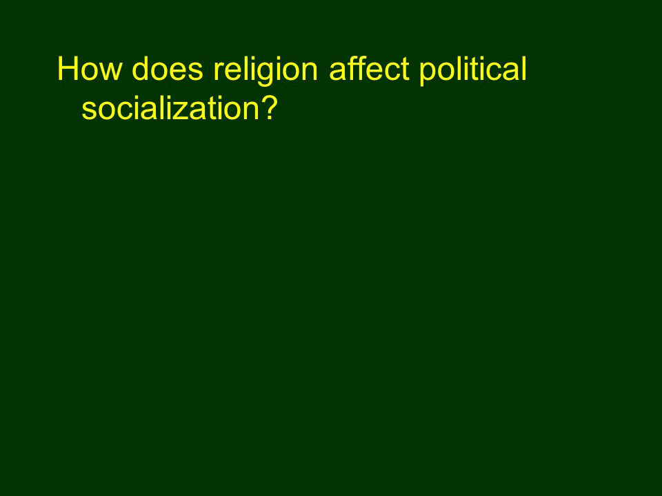 How does religion affect political socialization?