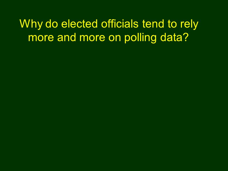 Why do elected officials tend to rely more and more on polling data