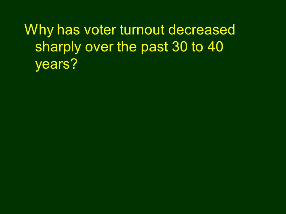 Why has voter turnout decreased sharply over the past 30 to 40 years?