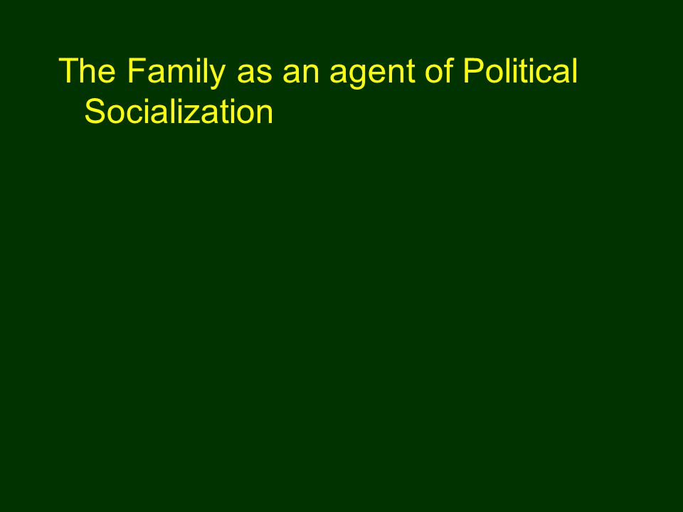 The Family as an agent of Political Socialization