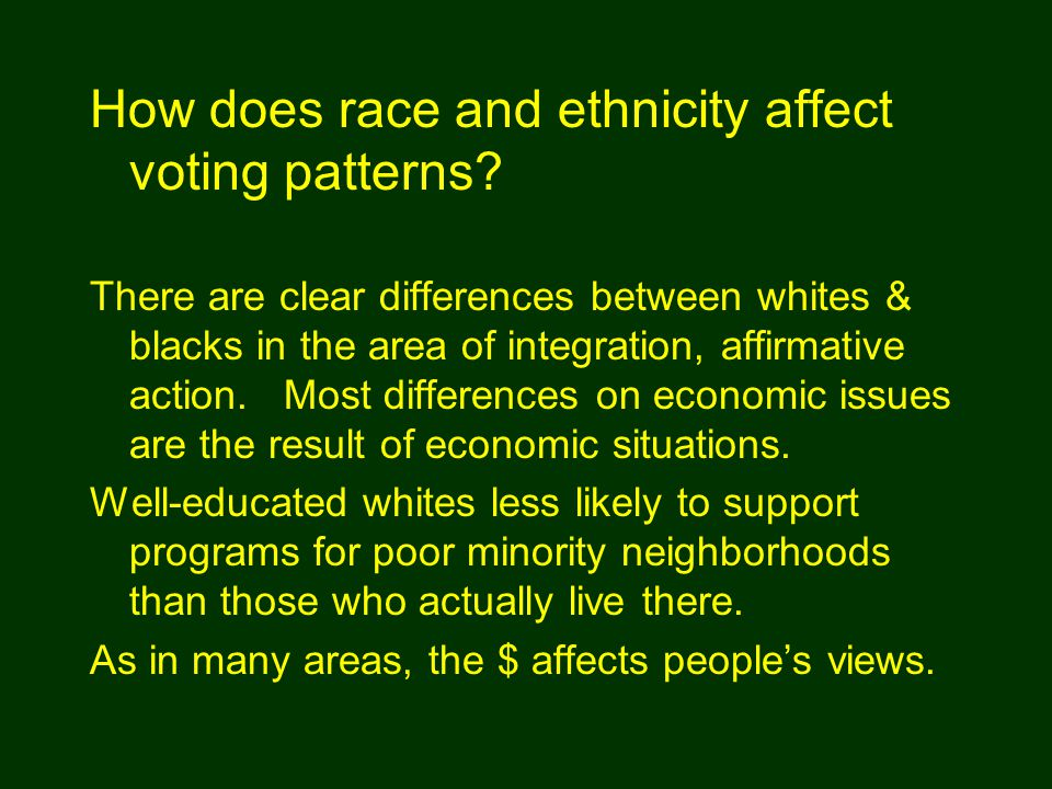 There are clear differences between whites & blacks in the area of integration, affirmative action. Most differences on economic issues are the result