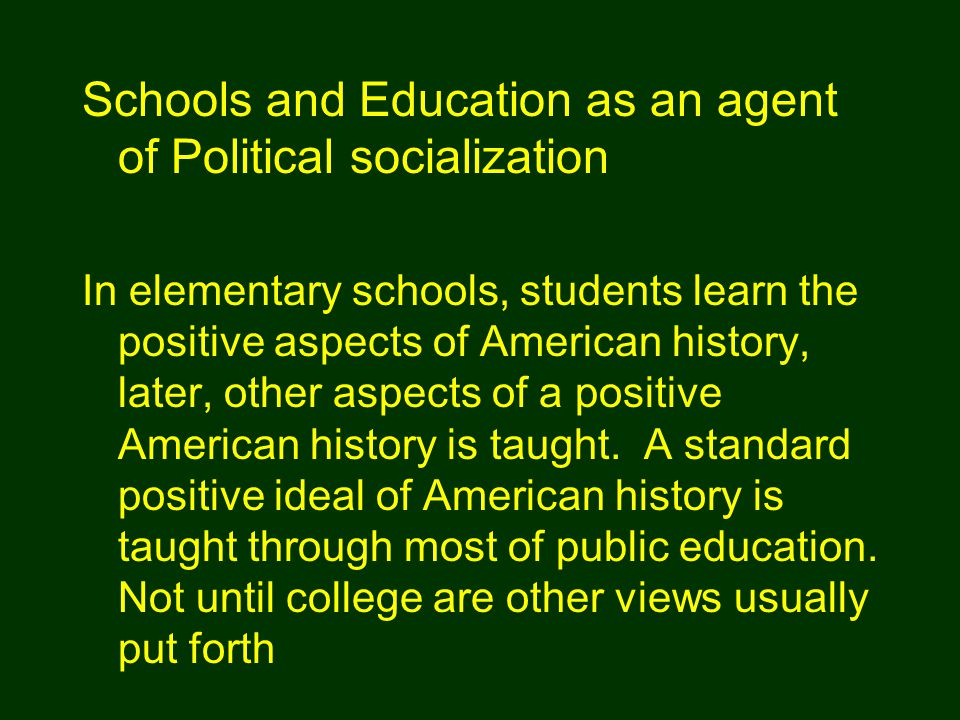 In elementary schools, students learn the positive aspects of American history, later, other aspects of a positive American history is taught.