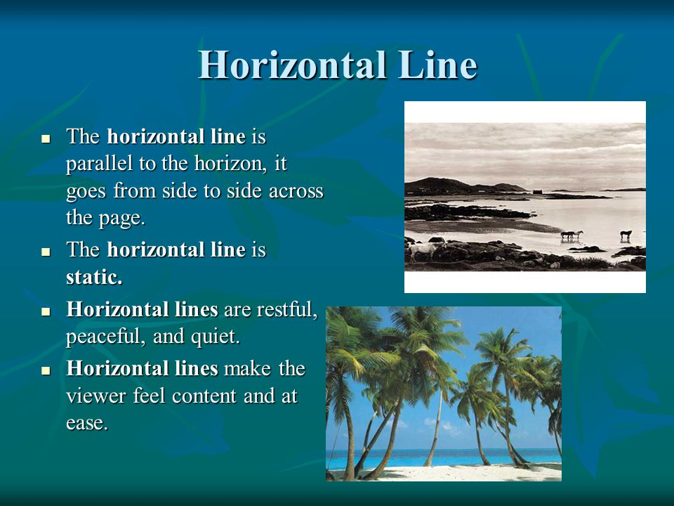 Horizontal Line The horizontal line is parallel to the horizon, it goes from side to side across the page. The horizontal line is parallel to the hori