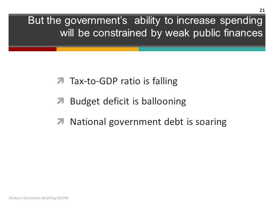 But the government's ability to increase spending will be constrained by weak public finances  Tax-to-GDP ratio is falling  Budget deficit is ballooning  National government debt is soaring Diokno I Economic Briefing 102709 21