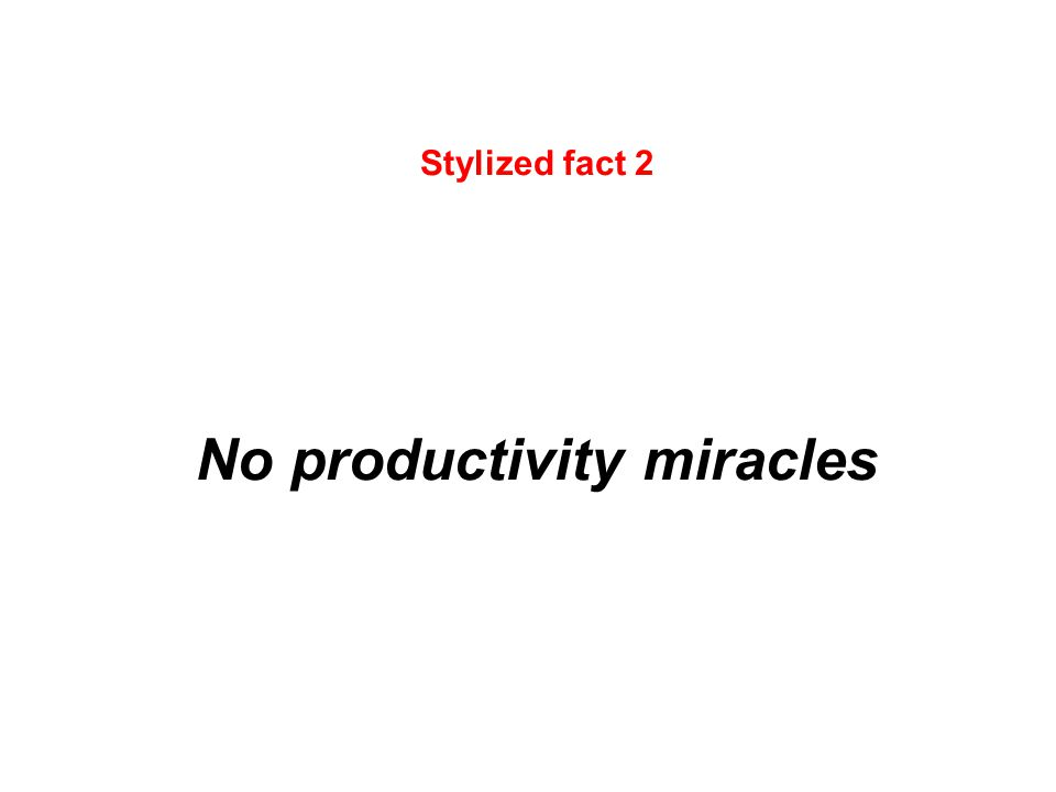 Stylized fact 2 No productivity miracles